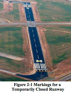 FAA runway markings for a temporariy closed airport runway